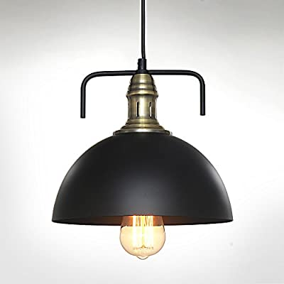 SPARKSOR Industrial Nautical Barn Pendant Light 9.8inches Single Pendant Lamp with Rustic Dome/Bowl Shape Mounted Fixture Ceiling Light Chandelier ,Black Paint,Metal aluminum,Adjustable Hanging Height
