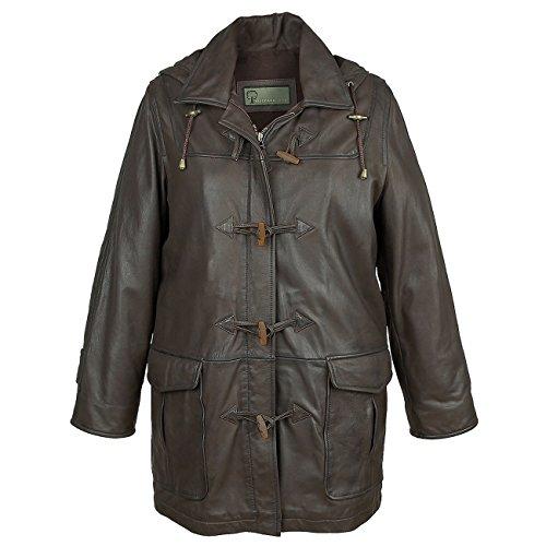 Women's Brown Leather Duffle Coat Brown