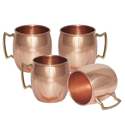 ZAP Impex Moscow Mule 100% Solid Pure Copper Mugs/Cups - Set of 4 (16-ounce/Set of 4, Smooth)