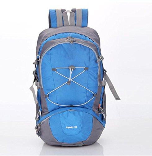 LQABW La Bolsa De Gran Capacidad Para Deportes Al Aire Libre Del Alpinismo Hombres Y Las Mujeres Hombro Con La Cubierta De La Lluvia Generación Mochila 35L,Blue Blue