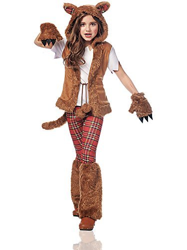 [Costume Culture Women's Howl-O-Ween Girl's Costume, Brown, Large] (Werewolf Costume Shirt)