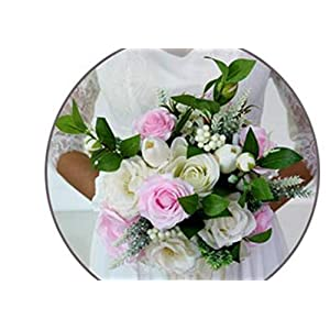Memoirs- Bridal Bridesmaid Flower Wedding Bouquet Artificial Flower Rose Bouquet Crystal Bridal Bouquets,Pink White 79