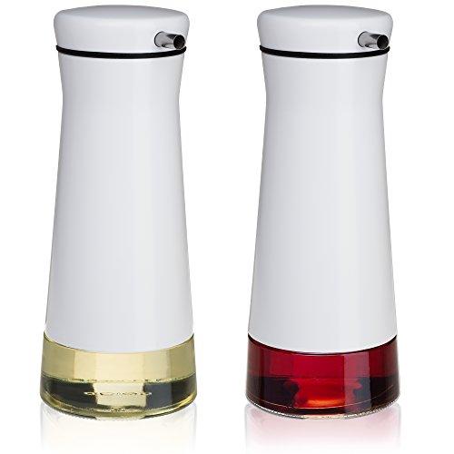 CHEFVANTAGE Olive Oil and Vinegar Cruet Dispenser Set with Elegant Glass Bottle and Drip Free Design - White