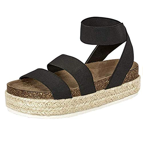 (LYN Star ◈ Women's Open Toe Ankle Strap Sandal Casual Clip Espadrilles Trim Flatform Studded Wedge Buckle Sandals Black )