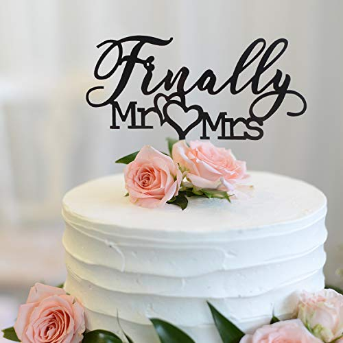 Finally Mr Mrs Love Heart Black Acrylic Cake Topper - Great for Wedding Engagement Bridal Shower Party Decoration Gift Keepsake.(Black) (Tall Groom Short Bride Wedding Cake Topper)