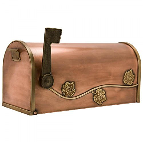 (Naiture Standard Leaf & Vine Post Mount Copper Mailbox with Brass)