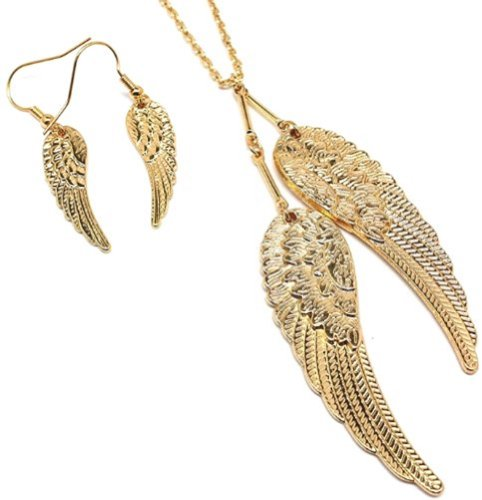 Elegant Gold Tone Guardian Angel Wings Necklace And Earrings Jewelry Set For Women And Teens