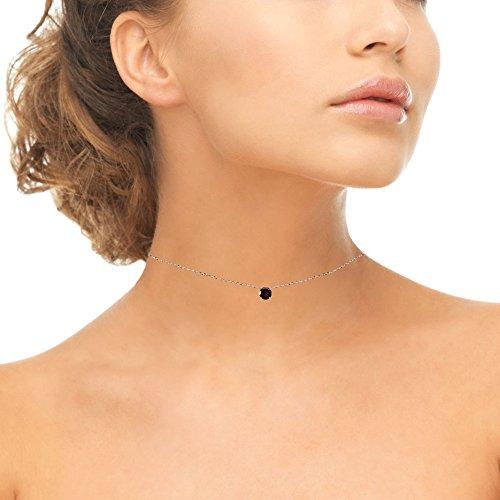 Sterling Silver Garnet 7mm Round-cut Dainty Choker Necklace by GemStar USA (Image #2)