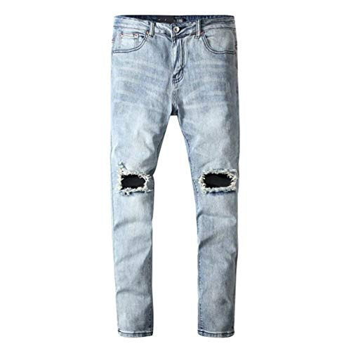 Alsbild Uomo Denim Fit Slim Sportivi Strappate Pantaloni Stretch Da Giovane Felpe Moda Jeans Di qg4Ox