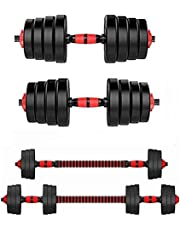 2 IN 1 Large Dumbbell Barbell Set Adjustable Free Weights for Home Gym Muscle Training Dumbbells Kits Non-slip Men and Women Body Workout Equipment, 10-25KG,Black-15kg