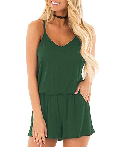 Weilim Women's Summer Loose Spaghetti Strap Short Jumpsuit Rompers Pockets Top 03S-Green XL