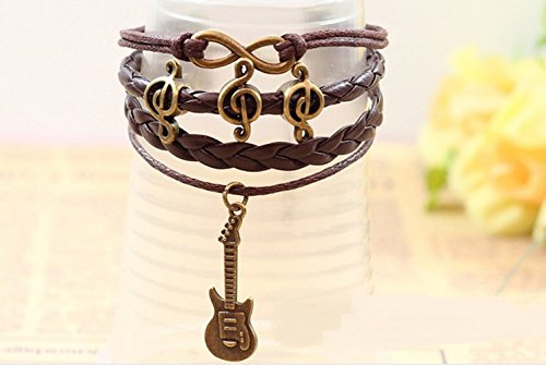 Winter's Secret Figure Eight Fashion Brown Leather Woven Happy Notes Guitar Pendant Bracelet (Homemade Horse Halloween Costumes)
