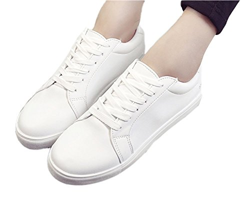 VECJUNIA Ladies Lace-Up Breathable Trainers Sneakers Walking Shoes White 4lHyt