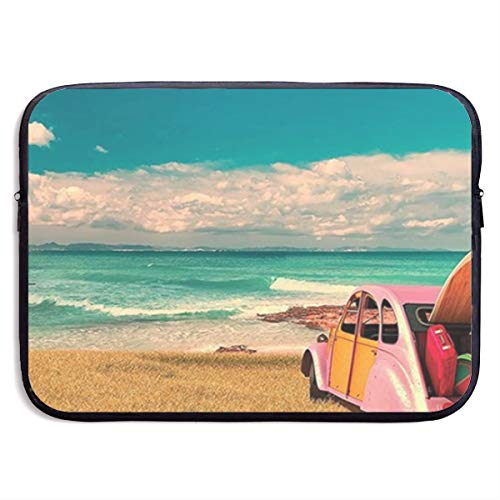 Cute Hippie Car by The Ocean 13-15 Inch Laptop Sleeve Bag Portable Dual Zipper Case Cover Pouch Holder Pocket Tablet Bag,Water Resistant,Black