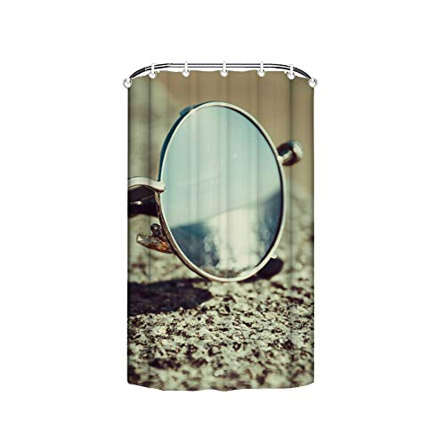 Welkoom Silver Framed Hippie Sunglasses On Concrete Easy Care Fabric Shower Curtain with Reinforced Buttonholes,for Bathroom Showers,Stalls and Bathtubs,Machine Washable - 36