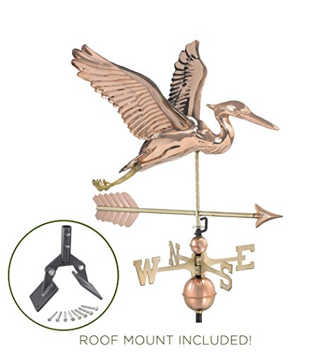 Good Directions Blue Heron with Arrow Weathervane with Roof Mount - Pure - Blue Arrow Weathervane