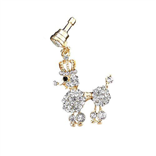 S&C Bling Rhinestone Crown Poodle Crystal Anti-dust Plug Headphone Jack Plug For iPhone iPad iPod Samsung Galaxy Series Of 3.5mm Ear Jack - Silver