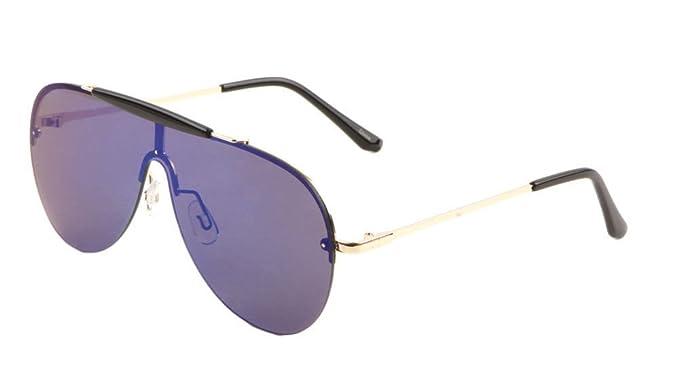 6032de9705 Amazon.com  Shield Outdoorsman Floating Flat Lens Aviator Sunglasses w Brow  Bar (Gold   Black Brow Bar