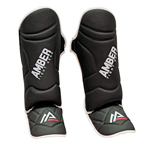 Amber Fight Gear Centurion Muay Thai Shin and Instep Muay Thai Kickboxing Protective Training Sparring Shin Guards Pair Medium