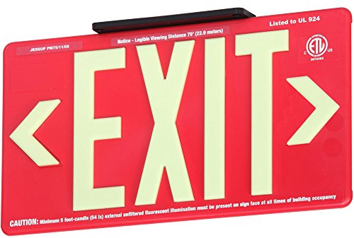 Jessup Glo Brite 75-7072-B P75 Molded Plastic Non Electrical, Glow-in-The-Dark (Photoluminescent) Eco Exit Sign for Outdoor and Wet Locations, Double-Sided, 8.5