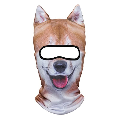 Pugs Wearing Halloween Costumes (JIUSY Animal Ears Balaclava Face Mask Breathable Hood Outdoor Sports Motorcycle Cycling Ski Halloween Party Funny Shiba Dog MEB-04)