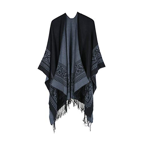 Inverlee Womens Bohemia Tassels Knitted Cashmere Ponchos Shawl Cardigans Sweater Coat