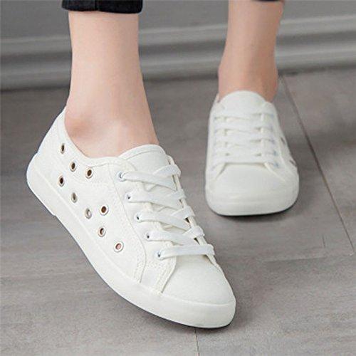 Señoras De Lona NGRDX De Deporte Casual Caminar Para 44 Mujeres Las hole Tamaño Zapatos 35 De Las White Blanco Antideslizante Pizarra Zapatillas amp;G De De Las Mujeres Primavera gPqwr1g