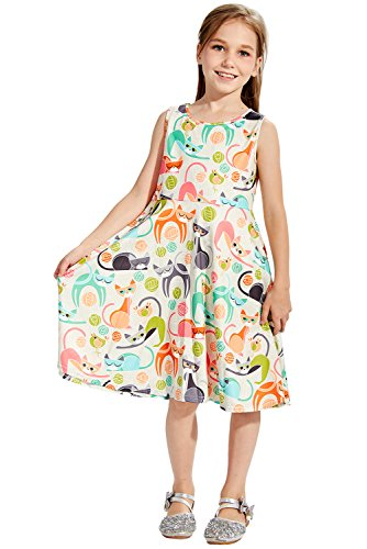 Juniors Girl Dress 10-14 Years Old Green Cats Printed Red Fox Lace Dress-up Clothing White Solid Twirling Ruffle A-line Shirt Dresses for Big Young Teen Girls Student Children's Summer Casual -