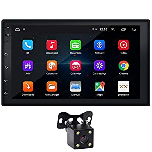 """Double Din Car Stereo 7"""" Touchscreen Android 9.1 Car Radio with Bluetooth FM WiFi GPS Navigation Mirrorlink CarPlay 1G/16G Car Stereo with Backup Camera Video Player + LED Reverse Backup Camera"""