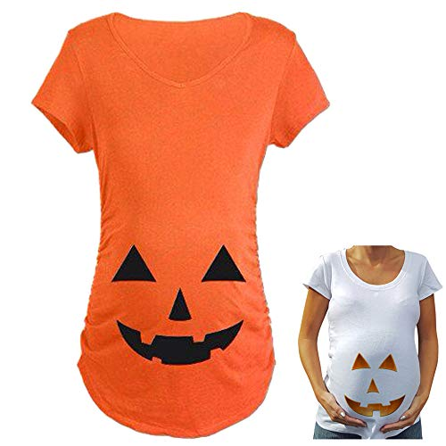 Qiaonai Tops for Pregnant Woman Pumpkin Carved Face Halloween Printed Maternity Clothes Tee Shirt Pregnancy Clothes (M, Orange)]()