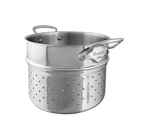 (Mauviel Made In France M'Cook 5 Ply Stainless Steel 5222.24 9.5 inch Pasta Insert, Cast Stainless Steel Handle )