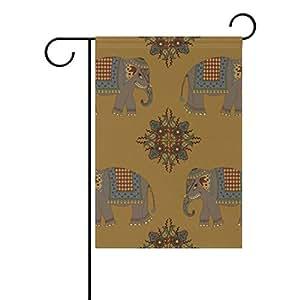 Bandera de jardín Vantaso decorativa India Mandala elefantes poliéster impresión de doble cara a prueba de decoloración para patios al aire libre jardín 12 x 18 pulgadas
