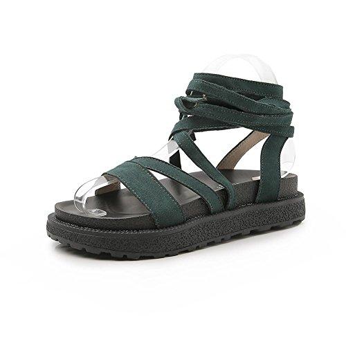 KJJDE Sandalias Mujer Zapatilla Chanclas hah-L-K7 Correas Cruzadas Clásicas Confort Peep Toe Tacón Zapatos Para Caminar Dark Green