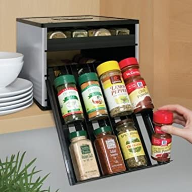 YouCopia Classic SpiceStack 24-Bottle Spice Organizer with Universal Drawers, Silver