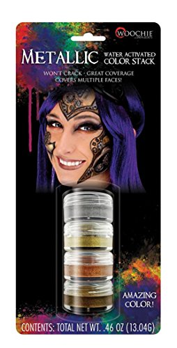 Woochie Water Activated Makeup Stack - Professional Quality Halloween and Costume Makeup - Metallic