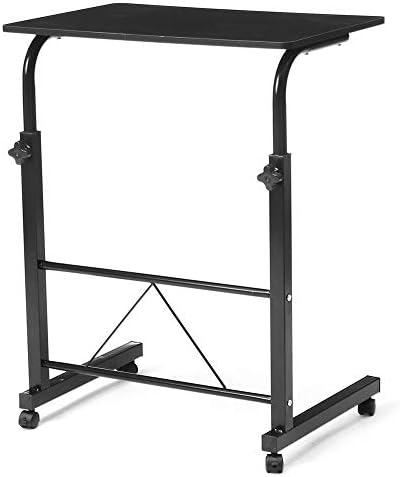 多目的モバイルオーバーベッド椅子テーブル、ベッドや車椅子でのキャスター車輪の使用、高さ調節とモバイルデスクポータブルデスク,黒