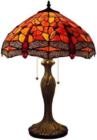 Stained Glass Lamp 2 Light Pull Chain 24 Inch Tall Tiffany Style Dragonfly Table Lamps Beside Desk End Table Lamp Antique Base for Living Room Coffee Table Bedroom S036 WERFACTORY