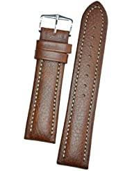 Hirsch Buffalo Brown High Grain Leather Watch Strap 113202-15-22
