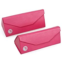 RoryTory 2pc Foldable Triangular Eyeglass Case With Microfiber Cloth - Pink