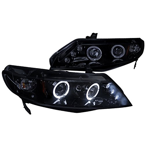 Spec-D Tuning 2LHP-CV064G-TM Honda Civic Dual Halo Led Glossy Black 4Dr Sedan Projector - Black 4dr Led