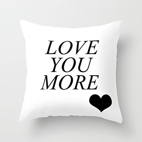 Love You More Heart White Throw Pillow Covers Canvas Decorative Pillow Covers 18x 18 Gifts for Dad I Like Exercise