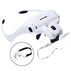 YOCTOSUN Head Mount Magnifier with 2 Led...
