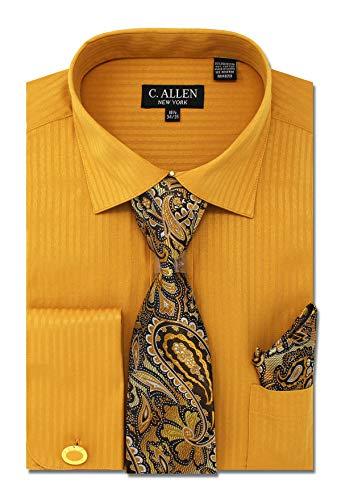 (C. Allen Men's Solid Striped Pattern Regular Fit Dress Shirts with Tie Hanky Cufflinks Combo 18.5 Neck 34/35 Gold)