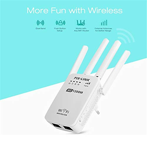 QUARKJK AC1200 WiFi Range Extender/Access Point/WiFi Booster/Wireless Router Signal Amplifier Dual Band(2.4GHz 300Mbps+5GHz 867Mbps) with 4 External Antennas,EU