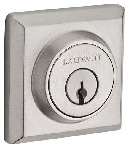 (Baldwin Reserve SCTSD150S Single Cylinder Traditional Square Deadbolt with Smartkey Satin Nickel Finish)