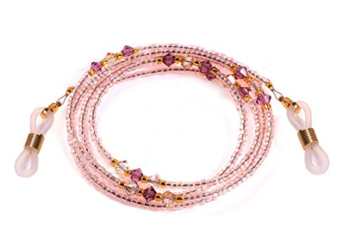 Swarovski Beaded Necklace - Bead Eyeglass Chain - Sunglasses Cord Neck Strap Holder (Cream Pink)
