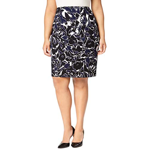 (Kasper Womens Plus Floral Print Knee-Length Pencil Skirt Navy 24W)