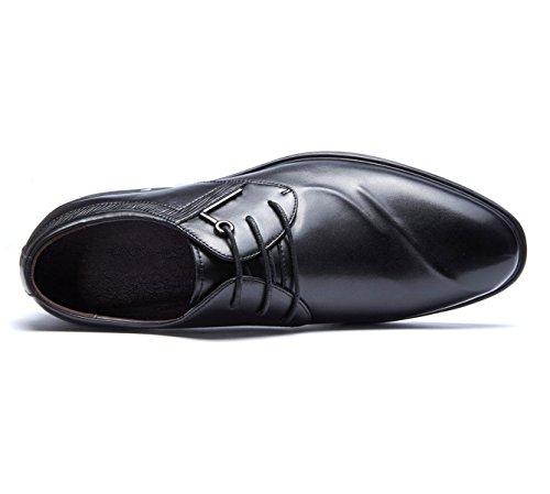 Black Chaussures en Robe Dentelle Ronde Véritable en Wearable Hommes LEDLFIE Cuir Derby pour Affaires Chaussures Cuir 7xA6Z6