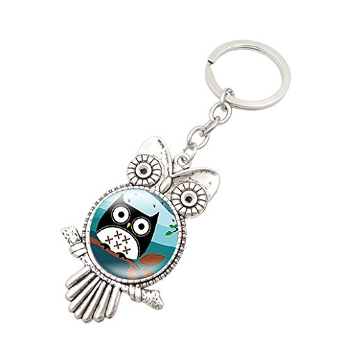 Jiana Vintage Owl Keyring Made of Gemstone Metal Keychain Glass Keychain hongyuan