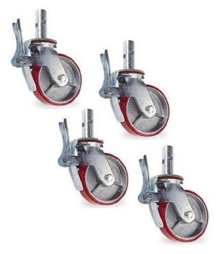 Quality-Swivel-Scaffold-Caster-8-x-2-Polyurethane-Wheel-CAM-Tread-Brake-800-Cap-Pack-of-4